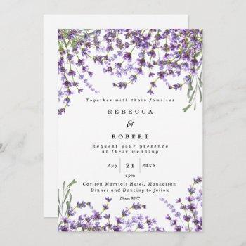 lavender florals boho modern wedding invitation