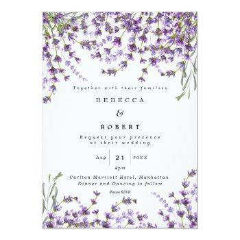 Small Lavender Florals Boho Modern Wedding Invitation Front View