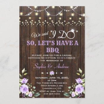 lavender flowers barn wood after i do bbq invitation