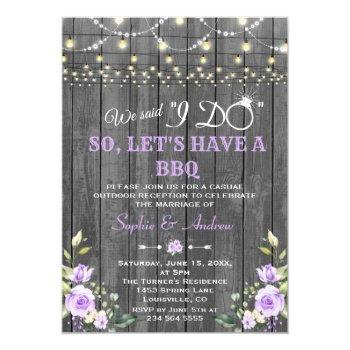 lavender flowers barn wood after i do bbq invitation