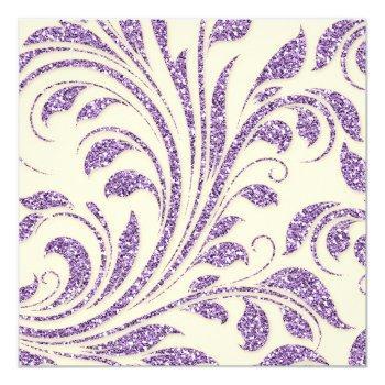 lavender glitter leaves spring wedding invite