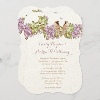 lavender lilac love bird wedding invitation
