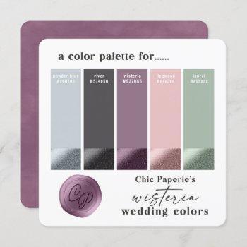 lavender & pink 2021 wedding color palette card