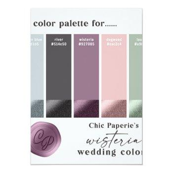 Small Lavender & Pink 2021 Wedding Color Palette Card Front View