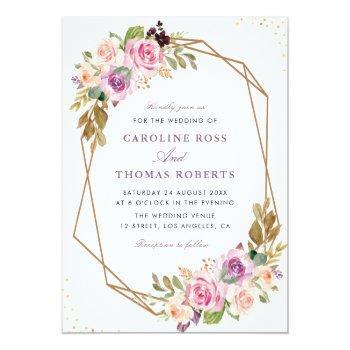 lavender purple & blush floral geometric wedding invitation