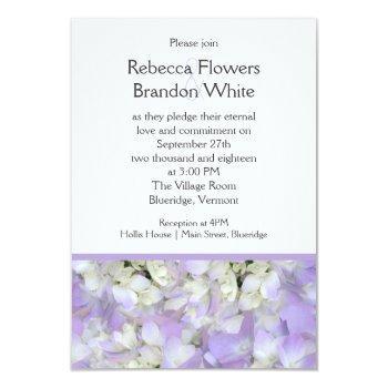 lavender purple hydrangea small wedding invitation