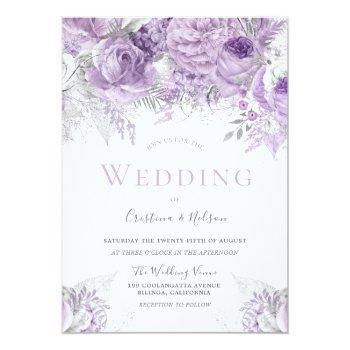 Small Lavender Purple Silver Floral Wedding Invitation Front View
