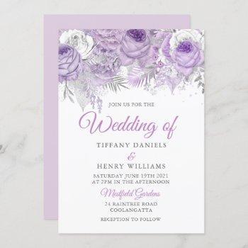 lavender purple sparkle floral wedding invite