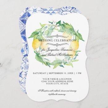 lemon floral citrus foliage rustic blue white tile invitation