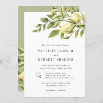 lemons and leaves watercolor botanical wedding invitation