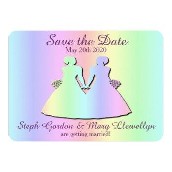 lesbian pride wedding save the date card