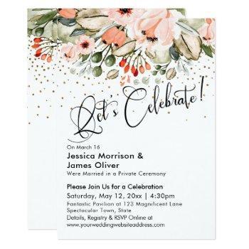 let's celebrate! blush floral faux gold confetti invitation