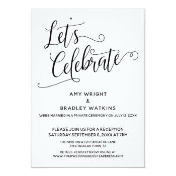 let's celebrate elegant post-wedding reception invitation