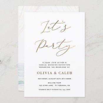let's party elopement wedding reception invitation