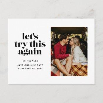 let's try this again change the date wedding announcement postcard