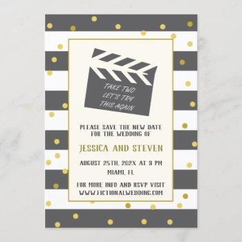 let's try this again funny wedding update invitation