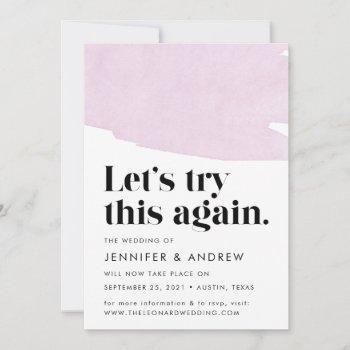 let's try this again purple wedding postponement announcement