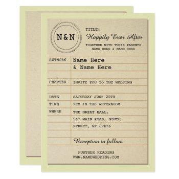 library wedding invitation book theme invite