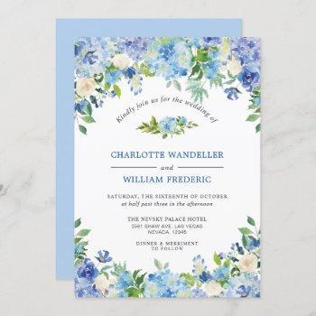 light blue hydrangeas greenery watercolor wedding invitation
