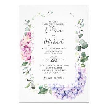 light blue pink hydrangeas and eucalyptus wedding invitation