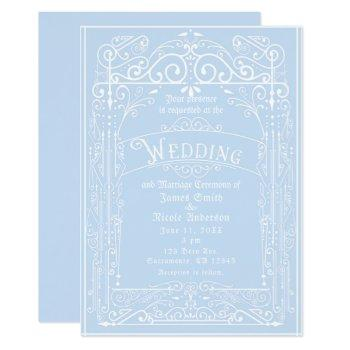 light blue & white vintage victorian deco wedding invitation