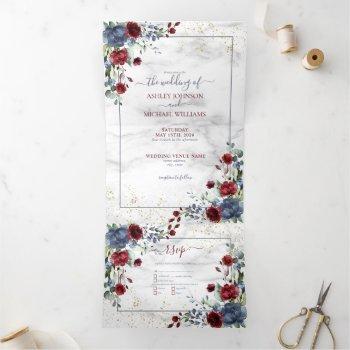 light dusty blue burgundy floral photo wedding tri-fold invitation