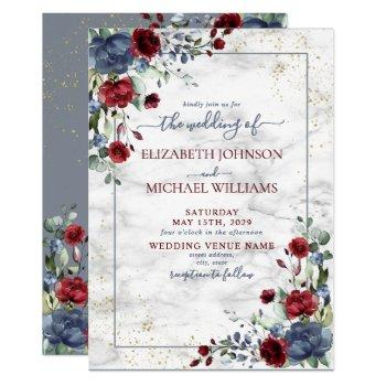 light dusty blue burgundy gold floral wedding invitation