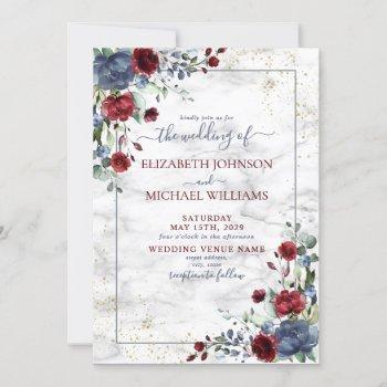 light dusty blue burgundy gold floral wedding invitation