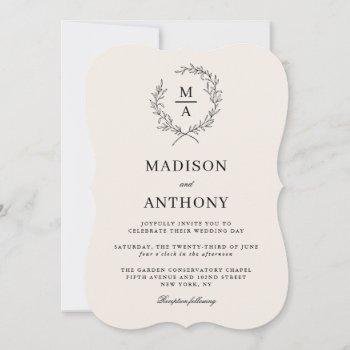 light ecru simple elegant monogram wedding invitation
