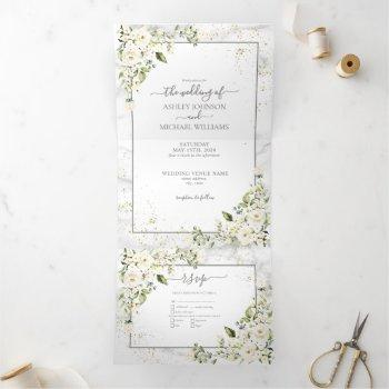 light gray white floral gold marble photo wedding tri-fold invitation