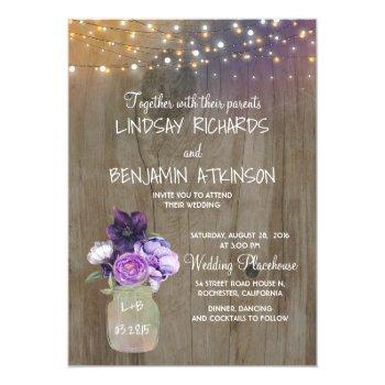 Small Lilac Plum Purple Floral Mason Jar Rustic Wedding Invitation Front View