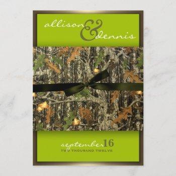 lime green - lavish camo wedding invitations