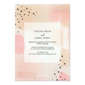 live stream virtual wedding abstract pink invitation