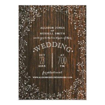 Small Live Stream Virtual Wedding Barnwood Baby's Breath Invitation Front View