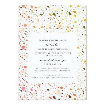 Small Live Stream Virtual Wedding Desert Terrazzo Invitation Front View