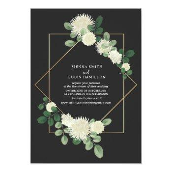 Small Live Stream Virtual Wedding Floral Botanical Gray Invitation Front View