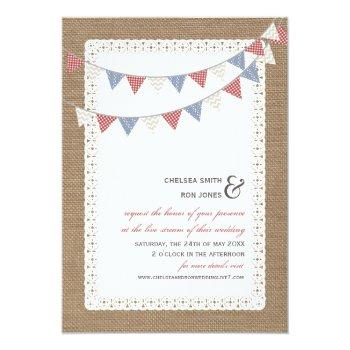 Small Live Stream Virtual Wedding Lace Bunting Burlap Invitation Front View