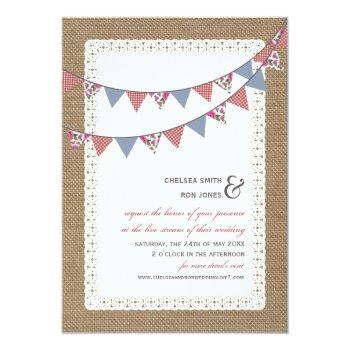 Small Live Stream Virtual Wedding Lace Burlap Bunting Invitation Front View
