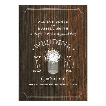 Small Live Stream Virtual Wedding Rustic Wood Mason Jar Invitation Front View