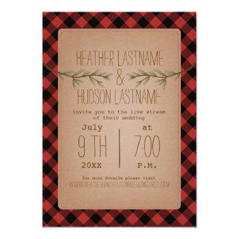 Small Live Stream Wedding Plaid + Evergreen Branches Invitation Front View