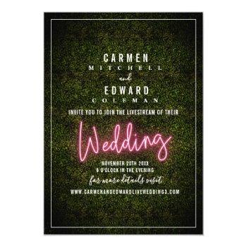 livestream virtual wedding neon sign boxwood invitation