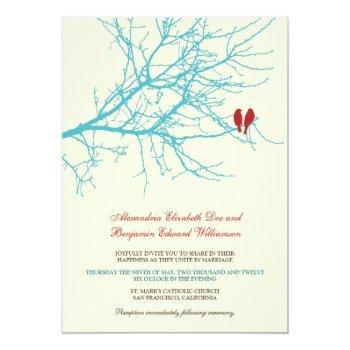 love birds branch wedding invitation (aqua)