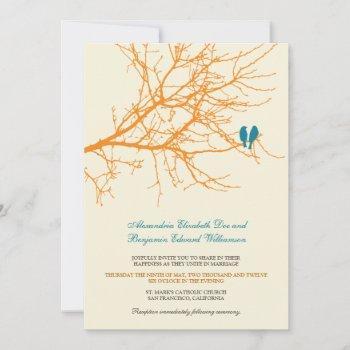 love birds branch wedding invitation (tangerine)