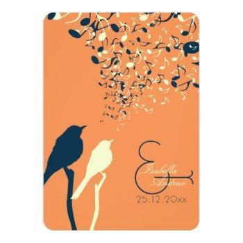 love birds song wedding invitation orange