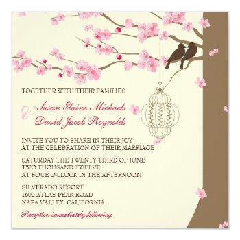 love birds vintage cage cherry blossom wedding invitation