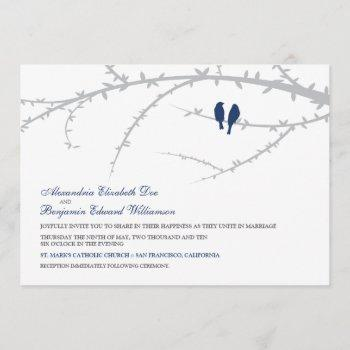 love birds wedding invitation (navy)