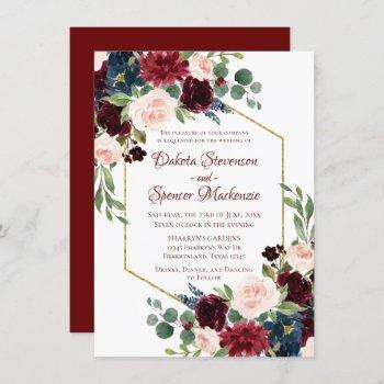love bloom | elegant red floral gold frame wedding invitation