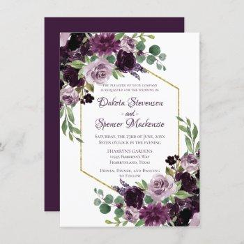 love bloom | moody dramatic passion purple bouquet invitation