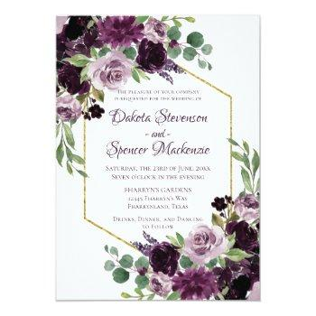 Small Love Bloom   Moody Dramatic Passion Purple Bouquet Invitation Front View