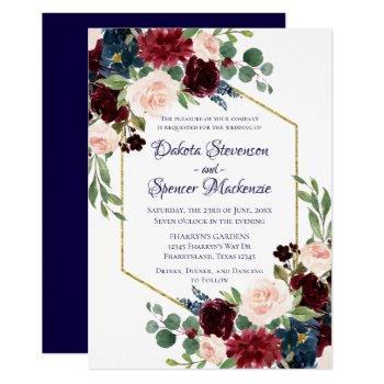 love bloom | rustic navy burgundy wedding invitation